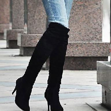 Støvler-Kunstlæder-Modestøvler-Dame-Sort Blå Brun Hvid Grå-Udendørs Kontor Fritid-Stilethæl