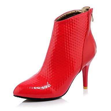 Støvler-Kunstlæder-Modestøvler-Dame-Sort Rød Hvid-Udendørs Kontor Fritid-Stilethæl