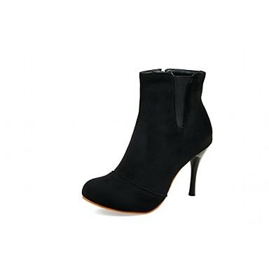 Feminino-Saltos-Botas de Cowboy Botas Montaria Botas da Moda-Salto Agulha-Preto Vermelho-Microfibra-Casamento Escritório & Trabalho