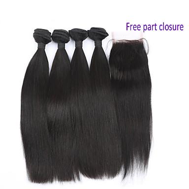 baratos Extensões de Cabelo Natural-4 pacotes Cabelo Brasileiro Onda de Corpo 10A Cabelo Virgem Trama do cabelo com Encerramento Tramas de cabelo humano Extensões de cabelo humano