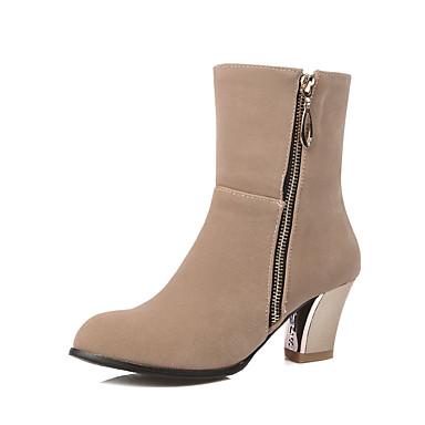 Støvler-Kunstlæder-Modestøvler-Dame-Sort Mandel-Udendørs Kontor Fritid-Tyk hæl