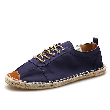 Herre-Lin-Flat hæl-Rund tå-Flate sko-Fritid-Blå / Kaki