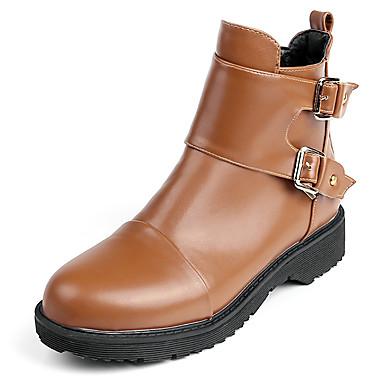 Damen Schuhe Kunstleder Frühling Herbst Winter Stiefel Plattform Mittelhohe Stiefel Schnalle Reißverschluss Für Normal Kleid Schwarz Gelb