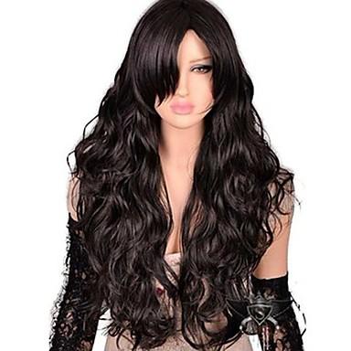 Synthetische Perücken Natürlich gewellt Seitenteil Synthetische Haare Modisch / Mit Pony Dunkelbraun Perücke Damen Lang Kappenlos