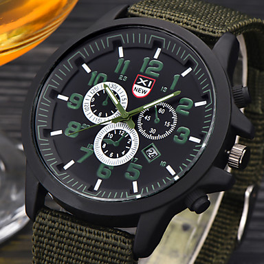Homens Relógio de Pulso Relógio Militar Quartzo / Couro Banda Casual Preta