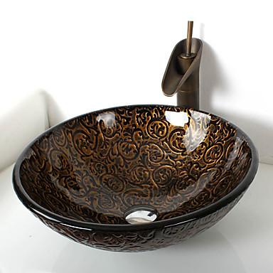 Antike Rundförmig Material der Becken ist Hartglas Waschbecken für Badezimmer Armatur für Badezimmer Einbauring für Badezimmer