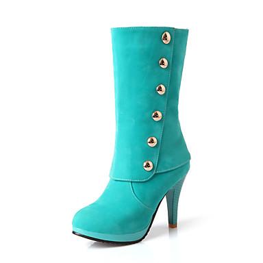Støvler-Kunstlæder-Modestøvler-Dame-Sort Grøn Rød Mandel-Udendørs Kontor Fritid-Stilethæl