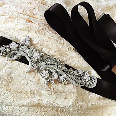 Satin Bryllup Fest / aften Hverdag Ordensbånd With Bjergkrystal Krystal Perlearbejde Paillette Applikeret broderi Dame Skærf