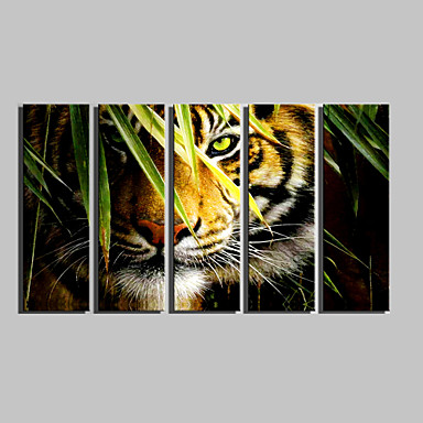 Stretched Canvas Print Animals Five Panels Vertical Print Wall Decor Home Decoration