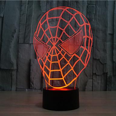 edderkopp-mann berøring dimming 3d led natt lys 7colorful dekorasjon atmosfære lampe nyhet belysning lys