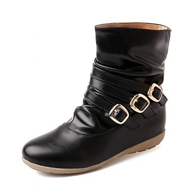 Feminino-Tênis-Botas de Cowboy Botas de Neve Botas Montaria Botas da Moda-Rasteiro-Preto Marrom Bege-Sintético Couro Envernizado Courino-