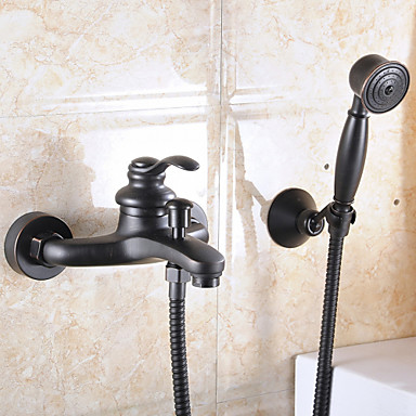 Çağdaş Duvara Monte Edilmiş El Duşu Dahil Seramik Vana Çift Delik Tek Kolu İki Delik Yağlı Bronz, Banyo Lavabo Bataryası