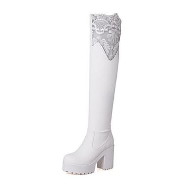 Støvler-PU-Komfort Gladiator-Dame-Sort Hvid-Udendørs Kontor Fritid-Tyk hæl