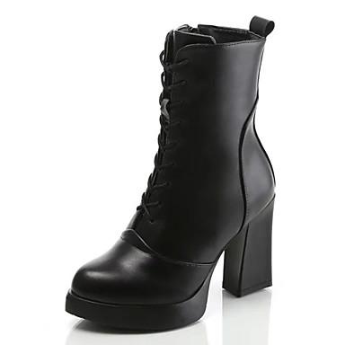 Støvler-Læder-Modestøvler-Dame-Sort-Udendørs Fritid-Tyk hæl