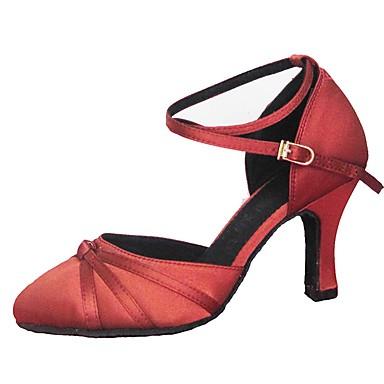 Mujer Zapatos de Baile Latino / Zapatos de Baile Moderno Satén Sandalia / Tacones Alto Volantes Tacón Personalizado Personalizables