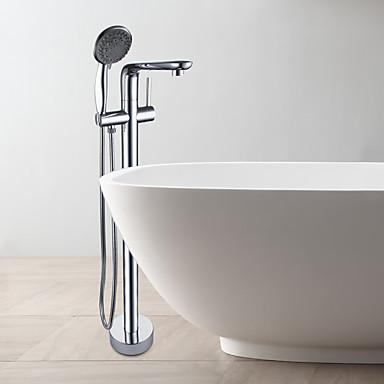 Badewannenarmaturen - Moderne Chrom bodenmontiert Keramisches Ventil / Einhand Ein Loch