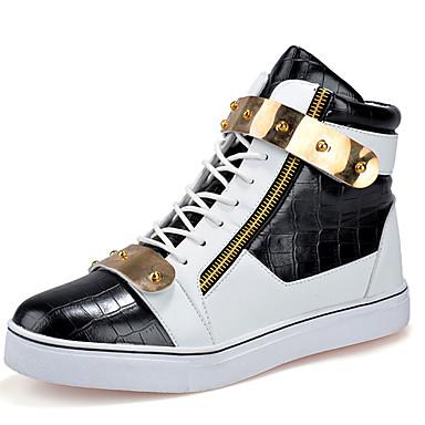 Heren Schoenen Synthetisch Lente Zomer Herfst Winter Comfortabel Laarzen Veters Voor Causaal Wit Zwart zwart/wit