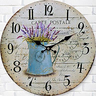 Moderne contemporain famille horloge murale rond bois 34 34 3cm int rieur horloge de 5253104 for Horloge murale bois moderne