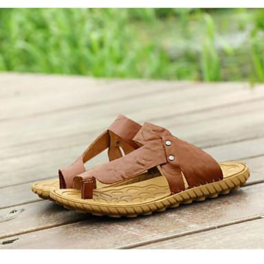 Sandaler-Læder PelsHerre-Blå Brun-Udendørs-Flad hæl