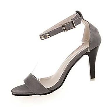 Dames Sandalen Fleece Zomer Causaal Gesp Stilettohak Zwart Grijs 7,5 - 9,5 cm