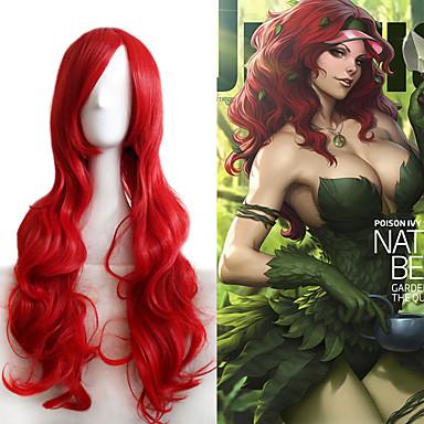 Pelucas sintéticas / Pelucas de Broma Ondulado Grande Pelo sintético Rojo Peluca Mujer Larga / Muy largo