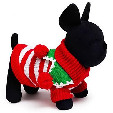 Katze Hund Pullover Hundekleidung Urlaub warm halten Weihnachten Streifen Weiß Rot Grün Kostüm Für Haustiere