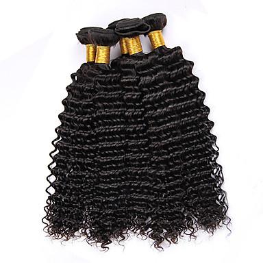 Echt haar Peruaans haar Menselijk haar weeft Krullend Gekrulde haarextension Haarextensions 4-delig Zwart