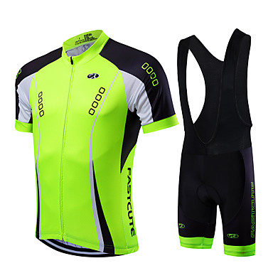 598213dce Fastcute Men s Short Sleeve Cycling Jersey with Bib Shorts - Light Green Bike  Clothing Suit