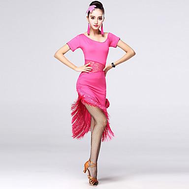 Zullen wij latijns dansen jurken vrouwen chinlon / strass / kant dans kostuums
