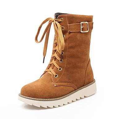 Feminino Sapatos Courino Primavera Outono Inverno Conforto Botas Rasteiro Cadarço Para Casual Preto Bege Marron Verde