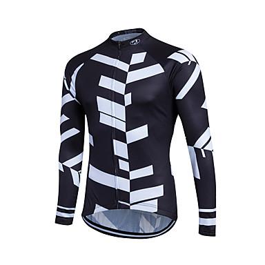 Fastcute Heren Lange mouw Wielrenshirt - Wit / Zwart Fietsen Shirt, Ademend, Zweetafvoerend Coolmax® / Lycra