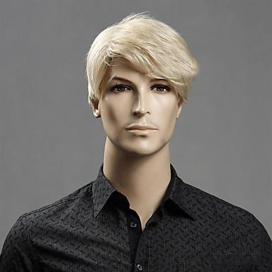 Syntetiske parykker Lige Blond Med bangs / pandehår Syntetisk hår Side del Blond Paryk Herre / Dame Kort Lågløs