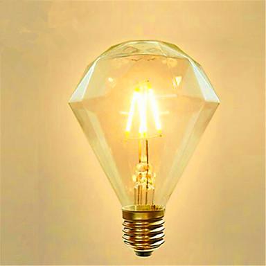 1pc 4 W 350 lm E26 / E27 LED-glødetrådspærer G95 4 LED Perler COB Dekorativ Varm hvid 220-240 V / 1 stk. / RoHs