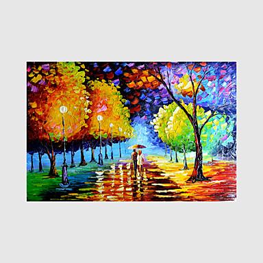 Handgeschilderde Landschap / Mensen / Bloemenmotief/Botanisch Olie schilderijen,Modern Eén paneel CanvasHang-geschilderd