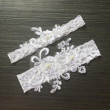 Blonder Elastisk sateng Klassisk Mote Bryllupsklær  -  Imitasjonsperle Blomst Strømpebånd