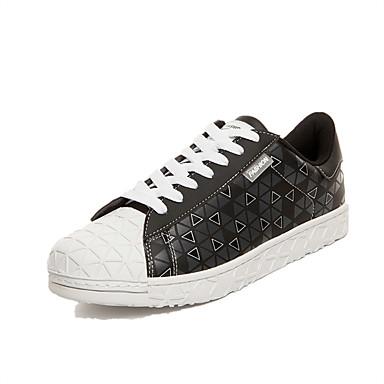 Sneakers-Mikrofiber-Komfort-Herre-Sort Blå Gul Rød Hvid Sort og Hvid-Udendørs Fritid Sport-Flad hæl