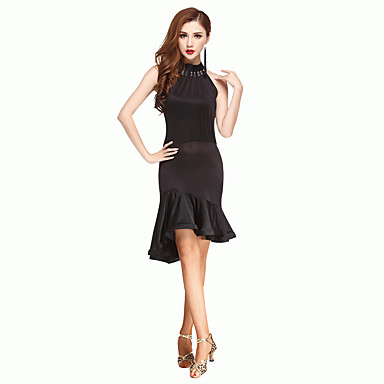 Latein-Tanz Kleider Damen Leistung Chinlon Rüschen Kurze Ärmel Hoch