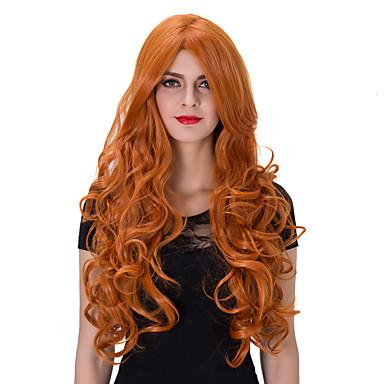 Synthetische Haare Perücken Kappenlos Karnevalsperücke Halloween Perücke Capless Perücken Sehr lang Rot