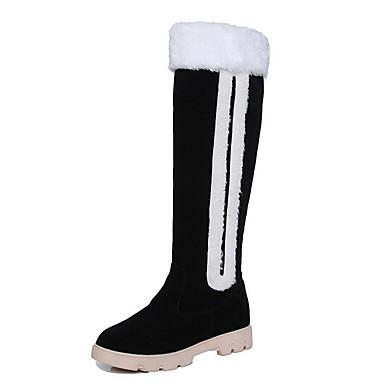 Støvler-Ruskind Pels-Komfort Modestøvler-Dame-Sort Khaki-Udendørs Kontor Fritid-Lav hæl