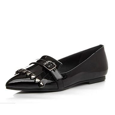 Feminino Sapatos Couro Primavera Verão Outono Mocassins e Slip-Ons Sem Salto Mocassim Para Preto Vinho