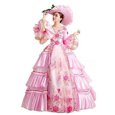 Gótica Lolita Clássica e Tradicional Steampunk® Renda Mulheres Vestidos Cosplay Floral Comprimento Longo