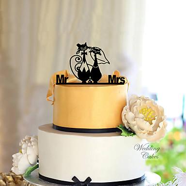 Tortenfiguren & Dekoration Klassisch Klassisches Paar Acryl Hochzeit mit Blume 1 pcs Geschenkbox