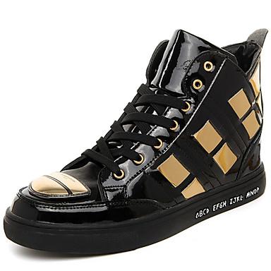 Sneakers-Mikrofiber-Komfort-Herre-Sort Sølv Sort og guld-Udendørs Fritid Sport-Flad hæl