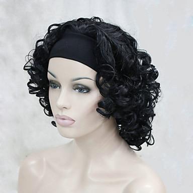 Kadın Sentetik Peruklar Bonesiz Orta Kıvırcık Siyah L16-613 Cadılar Bayramı Peruk Karnaval Peruk kostüm Peruk