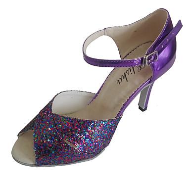 Λατινικοί - Παπούτσια Χορού - με Προσαρμοσμένο τακούνι - από Λουστρίνι/Αστραφτερό Γκλίτερ - για Γυναικεία