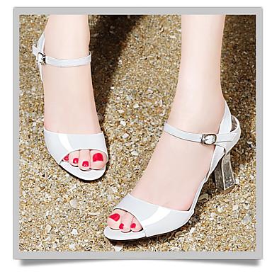 Para Meninas Sapatos Couro Ecológico Verão Saltos Salto Baixo Para Branco Laranja