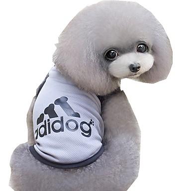 Gato Perro Camiseta Ropa para Perro Letra y Número Gris Azul Rosa Terileno Disfraz Para mascotas Hombre Mujer Casual/Diario Deportes