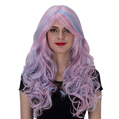Vrouw Synthetische pruiken Lang Licht Roze Capless Pruiken Kostuumpruiken
