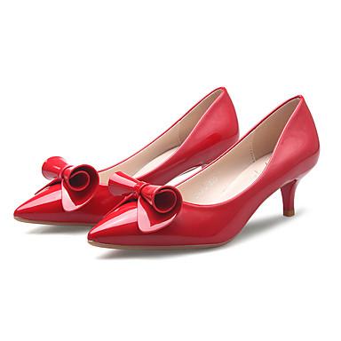 Feminino Sapatos Sintético Primavera Verão Outono Inverno Saltos Salto Agulha Com Laço Para Social Festas & Noite Preto Vermelho Rosa