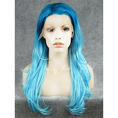 povoljno Perike i ekstenzije-Prednja perika od sintetičkog čipke Prirodne kovrče Stil Lace Front Perika Svjetloplav Sintentička kosa Žene Plava Perika
